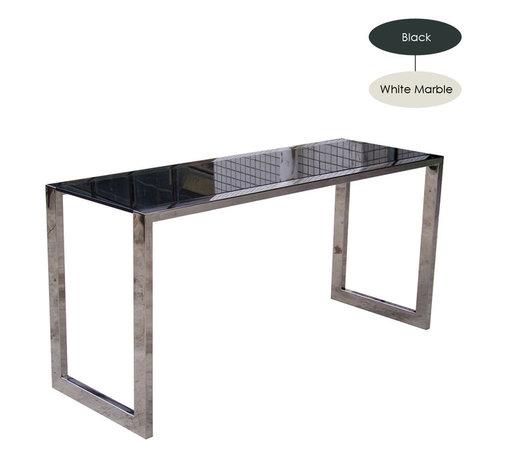 Nuevo Living - Jet Desk, White Marble/Large - -Stainless steel frame