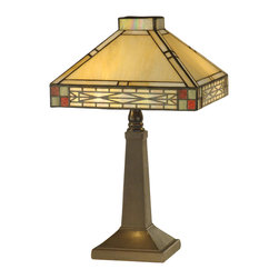 Dale Tiffany - Dale Tiffany TA10490 Cottonwood Mission Accent Lamp - Shade: Hand Rolled Art Glass