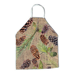 Caroline's Treasures - Pine Cones Apron - Apron, Bib Style, 27 in H x 31 in W; 100 percent  Ultra Spun Poly, White, braided nylon tie straps, sewn cloth neckband. These bib style aprons are not just for cooking - they are also great for cleaning, gardening, art projects, and other activities, too!