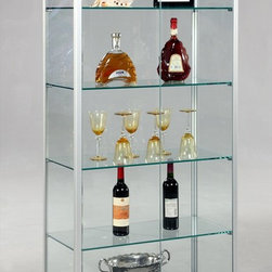 Chintaly Imports - Glass Curio with 2 Push Open Doors - Large rectangular all glass curio cabinet with grey and polished stainless steel accents. There is a magnetic closure on the front glass doors. There are 2 interior lights at the top. All glass is tempered.