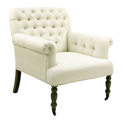 Kathy Kuo Home - Lorraine White Tufted Linen Arm Chair - Sink into the luxurious comfort of this exquisite European armchair.  Covered in ivory linen, the rather masculine form built from natural oak is softened by the tufted fabric and gently carved front legs.  A classic piece that would look stunning next to a hearth or around any antique coffee table.