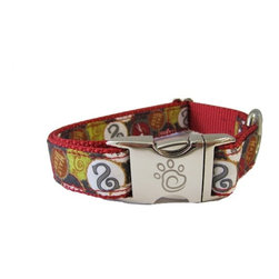 "chief furry officer - Designer Fabric Dog Collar - Roscoe blvd, Large - Chief Furry Officer proudly presents ""roscoe blvd"". The beer cap motif is prominently featured on a graphite grey background with a mix of crisp reds, whites, browns and green. Perfect pattern for the beer loving pet lover!"