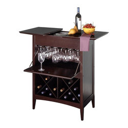 Winsome Wood - Wood Wine Server w Rack & Fold Out Table Top - You�۪ll love the convenience of the quality drop down stemware storage, and easy slide extra-space top of this beautiful wine server. Instantly add extra serving space while displaying your choice of fine wine bottles in this highly functional and uniquely stylish furniture piece finished in rich espresso to warm your room. Entertain in style with this chic wine butler in a rich espresso finish to help you pour the drinks. It holds up to 24 bottles in its luxurious design that also features a drop down cabinet for storing clean wine glasses. A rich espresso tone finish highlights this exquisite wooden wine server that features an upper wine glass storage cabinet with fold out tray and lower exposed wine rack. * Upper storage cabinet panel drops down to reveal wine glasses. Stores twenty-four bottles. Table top panel splits to create additional space. Finished in rich dark espresso. Some assembly required. 37H x 29.9W x 20.1D