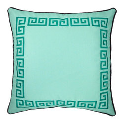 "NECTARmodern - Greek Key (green) embroidered throw pillow 20"" x 20"" - Exert style and sophistication with this updated take on a traditional Greek Key motif. Seafoam green cover with emerald green embroidery. Rolled contrast piping around the edge. Designer quality cover with overstuffed feather/down insert."