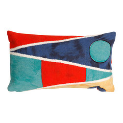 "Trans-Ocean Inc - Flags Multi 12"" x 20"" Indoor Outdoor Pillow - The highly detailed painterly effect is achieved by Liora Mannes patented Lamontage process which combines hand crafted art with cutting edge technology. These pillows are made with 100% polyester microfiber for an extra soft hand, and a 100% Polyester Insert. Liora Manne's pillows are suitable for Indoors or Outdoors, are antimicrobial, have a removable cover with a zipper closure for easy-care, and are handwashable.; Material: 100% Polyester; Primary Color: Navy;  Secondary Colors: aqua, beige, red, yellow; Pattern: Flags; Dimensions: 20 inches length x 12 inches width; Construction: Hand Made; Care Instructions: Hand wash with mild detergent. Air dry flat. Do not use a hard bristle brush."