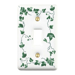 Renovators Supply - Switchplates White Porcelain Ivy1 Toggle/Dimmer Switch Plate - Single (1) toggle, one (1) gang single toggle or dimmer ceramic decorative wallplate with Ivy design. This ivy floral decorator plate adds a touch of elegance. Mounting screws are included with your designer wall plate purchase.