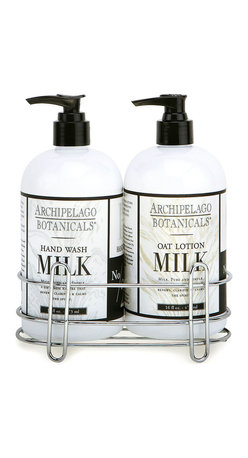 Oat Milk Sink Set - Cleanse and hydrate your hands with the most sophisticatedly subtle of scents, or present a gift that will surely be valued by anyone with sensitive skin. The Oat Milk Sink Set, a foaming hand wash and lotion duo that sit snugly cradled in a simple chrome caddy, is a lovely detail for the kitchen or the guest bath, where its skin-nourishing properties will see daily use.