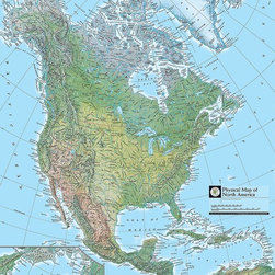 Magic Murals - Map of North America Wallpaper Wall Mural - Self-Adhesive - Multiple Sizes - Mag - Map of North America Wall Mural