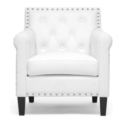 Wholesale Interiors - Thalassa White Modern Arm Chair - You will love the modernizing effect Thalassa's crisp white faux leather upholstery has on your living space. This designer arm chair is also made with a wooden frame, foam cushioning, and black solid rubberwood legs with non-marking feet. Shiny silver tone nail head accents dot the perimeter of the chair's backrest. Crafted in Malaysia, this contemporary club chair should be wiped clean with a damp cloth and immediately dried. Some minor assembly is required.