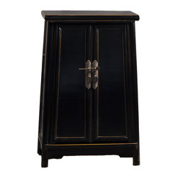 Antique Revival - Black Cathay Storage Cabinet - This Chinese Ming-style cabinet features a metal key on the outside that adds great detailing to the wooden design. The cabinet is a distinct design piece made from elm, with iron hardware. The inside includes a wide shelf and double drawer, making it great for storage.
