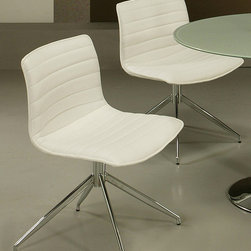 None - Tarantino Side Chair - Lend your space a sleek, retro vibe with this elegant white side chair that is perfect for the contemporary dining room. This armless chair revisits the 1960s and features a chrome-finished metal frame with an upholstered back and seat.