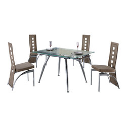 "American Eagle Furniture - 220DT & 104CH Extendable Beige Glass Table & Vinyl Chairs 5 Piece Dining Set - The 220DT & 104CH dining set is a great addition for any dining room that needs a touch modern design. The dining table has a glass table top that features a beige printed strip down the middle. The table comes i9n a standard size of 32.5"" but can be extended up to 39"" for larger gatherings. The frame of the table is crafted from polished stainless steel and has a four leg design. The chairs come upholstered in a stunning beige vinyl material with high density foam placed within the cushion for added comfort. The chairs have a unique open square design on the back that adds to the overall look. The frame of the chairs are crafted from polished stainless steel with the backrests extending down to the legs. The dining set consist of a dining table and four chairs only."