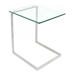 Lumisource - Zenn Glass End Table - Resting atop a square panel of sturdy legs. Made from stainless steel. Assembly required. 19.25 in. W x 16 in. D x 22 in. H (15 lbs.) The zenn glass end table is just what you need! The zenn glass end table is the ideal in contemporary design. Make this a part of your home or office today!