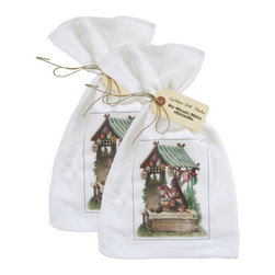 Golden Hill Studio - Bunny Egg Shack Flour Sack Towel Set of 2 - This lovely Bunny flour sack towel print set is from the 1800s and will be a hit in your Easter Kitchen.  Printed and Assembled in the USA!