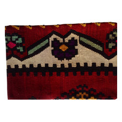 Original hand woven kilim - Authentic Turkish hand woven pillow Cover - This authentic hand woven Turkish Kilim Pillow cover was cut from an ancient Kilim carpet.  These colors work together to create a warm and enchanting piece of art.  This pillow cover measures 14X20.  Pillow insert not included.  Please view our other items to locate other matching pieces we have available in this family of designs.
