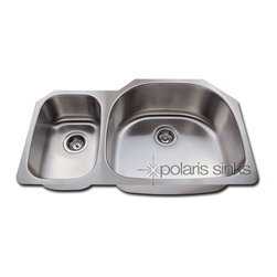 """pr905 - The PR905 offset double bowl undermount sink is constructed from 304 grade stainless steel and is available in your choice of 18 or 16 gauge thicknesses. The surface has a brushed satin finish to help mask small scratches that occur over time and keep your sink looking beautiful for years. The overall dimensions of the PR905 are 35"""" x 21 1/8"""" x 7""""(L) x 9""""(R) and a 36"""" minimum cabinet size is required. This sink contains a 3 1/2"""" offset drain, is fully insulated and comes with sound dampening pads. As always, our stainless steel sinks are covered under a limited lifetime warranty for as long as you own the sink."""