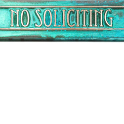 """Atlas Signs and Plaques - Craftsman Mini No Soliciting Plaque 8"""" x 2"""" with Lines and Squares - Eccentric, - Now you can have a no soliciting sign that complements instead of clashes.  This version of the Craftsman Mini features a border with lines and squares and uses the Eccentric font.  A wonderful addition to any Arts and Crafts style home."""