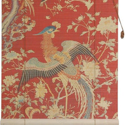 Oriental Furniture - Red Phoenix Bamboo Blinds - (36 in. x 72 in.) - Based on a classic tapestry, these stunning bamboo matchstick blinds feature a magnificent depiction of a rising phoenix and other mythical creatures against a red background. Built from all-natural bamboo matchsticks, it makes an elegant accent for any window, and is easy to set up and install.