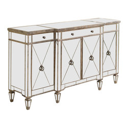 Bassett Mirror - Beveled Mirror Buffet Server in Antique Silve - Sophisticated with the look of an old-world antique, this stylish wood server will be a bold addition to your home's decor. The buffet features four cabinet doors and three drawers with beveled mirror accents and an antique silver tone finish that adds a dramatic effect. Borghese Collection. 3 Drawers. 4 Cabinets. One adjustable shelf behind each door. Hand-worked and beveled antique mirror over veneers. All mirror edges are encapsulated in a wood frame. Made of hardwood solids, veneers and mirrors. 70 in. W x 20 in. D x 38 in. H (349 lbs.)