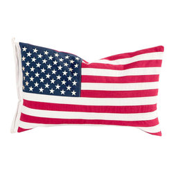 "American Flag Pillow - Get patriotic with this soft, plush pillow made from bright and neutral canvas fabrics.Dimensions: 28"" x 16"""