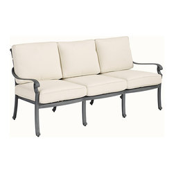 Ballard Designs - Maison Outdoor Sofa - Basic off-white box cushions included. Coordinates with Maison Dining Collection & Maison Lounge Collection. Fully assembled. Replacement cushions available. Requires 3 replacement cushion sets. Use of an outdoor furniture cover is recommended to extend the life of your piece. The graceful geometric pattern of our timeless Maison Outdoor Sofa was inspired by Mediterranean tile work. The hand applied zinc finish frame is crafted of fully welded cast aluminum, making it exceptionally strong and resistant to chipping and rust.Maison Outdoor Sofa features:. . . . .