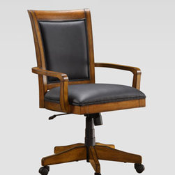 "Horchow - Pine Harbour Office Chair - Relaxed office chair provides a transitional look in a warm toasted-oak finish. Made of oak solids and veneers. Leather upholstery. Finished back. Five-star base with hooded casters. Swivel/tilt mechanism. 27""W x 28""D x 37.75""T; adjusts to 41.75""T. Imported. Boxed weight, approximately 57 lb"