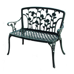 Great Deal Furniture - Gavea Antique Green Outdoor Patio Bench - With an elegant seat back of full-bloomed roses, the Antique Green Patio Bench will beckon visitors to sit, relax, and daydream of days gone by and yet to come. A perfect color of rose leaf green, with an antique, weathered finish, makes this piece seem as though it enjoyed many years in a rose garden. The painstakingly sculpted roses are incredibly smooth, providing comfort and support for those lucky enough to relax on the chair.