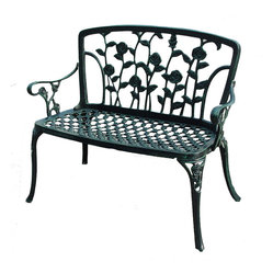 Great Deal Furniture - Gavea Antique Green Outdoor Patio Bench - With an elegant seat back of full-bloomed roses, the Antique Green Patio Bench will beckon visitors to sit, relax, and daydream of days gone by and yet to come.