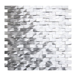 Eden Mosaic Tile - 3D Raised Brick Pattern Aluminum Mosaic Tile, Silver - This ain't your grandma's kitchen backsplash. Raised brushed aluminum tiles jut out in seeming randomness across this mosaic sheet, creating a contemporary 3D landscape of silvery shades. Use it anywhere in your home that needs a boost of modernity. Samples are approximately 1/6 to 1/4 of a regular sized sheet. Please note: Sample tiles are not returnable. Only one sample per style is allowed. Only five samples may be ordered.