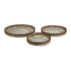 """IMAX - Julian Metal Trays - Set of 3 - The Julian metal trays exude rustic elegance with their weathered iron trim. It looks like that are from ancient times of kings and queens, thus giving any home a touch of grandiose. Item Dimensions: (12.25-15.25-18.25""""h x 12.25-15.25-18.25""""w x 2-2-2"""")"""
