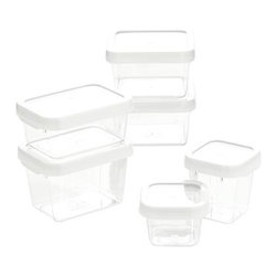 OXO® White 12-Piece Locktop Container Set - Lock down your prep ingredients and leftovers with these airtight-sealing storage containers in durable, view-through Tritan?. A dozen non-toxic, modular containers in a mix of squares and rectangles stack in the pantry, fridge or freezer, nest for compact storage. Microwave- and dishwasher-safe.