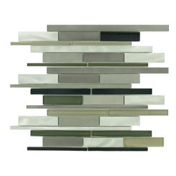 """Euro - Grey Glossy And Brushed Aluminum and Glass - Transform any room with these unique and inspired Grey Glossy & Brushed Aluminum and Glass tiles. Whether you are looking to infuse your decor with something classic or contemporary, this artful blend lends the perfect ambience. Both distinctive and durable, these tiles can be used in myriad applications, be it backsplashes, bathrooms, fireplaces, walls, even ceilings and floors. Incorporate these top quality artisan tiles for a gorgeous and dramatic effect.        Sheet size:  1 Sq. Ft.        Tile Size:  Random Bricks        Tiles per sheet:  37        Tile thickness:  1/4""""        Grout Joints:  1/8""""        Sheet Mount:  Mesh Backed     Sold by the sheet"""