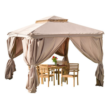 Great Deal Furniture - Chanelle Outdoor Gazebo Canopy - The Chanelle Gazebo adds a functional touch to any outdoor living space. The polyester covering offers the perfect shade solution while maintaining a clean feel. The steel frame of the gazebo is durable and comes with adjustable netting to enclose the gazebo for added shade or nighttime protection from the elements. This is the perfect piece for anything from relaxing in solace to entertaining guests.