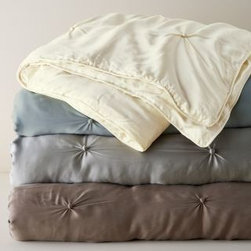 Eileen Fisher - Eileen Fisher Seasonless Silk Comforter - Double/Queen - Blue Slate - This hand-tufted Eileen Fisher comforter is pure silk, from its luminous charmeuse exterior to its light-as-air fill. Warm in winter and cool in summer, it provides temperature-regulating comfort. Eileen Fisher Home exclusively by Garnet Hill.