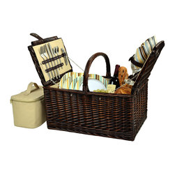 Picnic At Ascot - Buckingham Picnic Basket for Four, Brown Wicker/Sc Stripe - Traditional full reed willow handcrafted Picnic basket for four with a rich chocolate brown finish. It has a traditional picnic basket shape and convenient top carry handle. This set includes coordinating melamine plates and cotton napkins, glass wine glasses, stainless steel flatware, and corkscrew. Also includes a convenient food cooler.