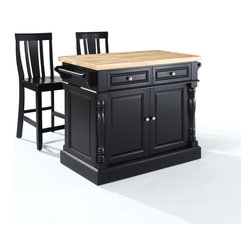 "Crosley - Butcher Block Top Kitchen Island in Black Finish with 24"" Shield Back Stools - Dimensions: 23 x 48.2 x 36 inches"