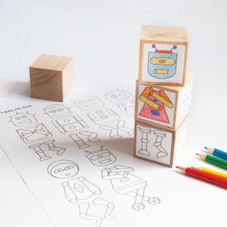 Urban Canvas - i.am.ro.bot. Set of 4 Wooden Blocks - Nourish a child's creativity with Urban Canvas Design Tins.  Each portable tin box is packed with a fun and unique art activity that brings a child's imagination to life.