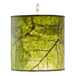 Foreign Affais Home Decor - TECTONA Hanging Lamp, Green - These beautiful hanging lamps are made from natural Teak Leaf. The remarkable contours of these very large leaves shine through the lamps even when not lit but provide an absolutely stunning warm light when lit.