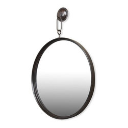 Interlude - Gideon Hanging Mirror - This finely detailed vintage industrial inspired mirror is will bring style and sophistication to any space.