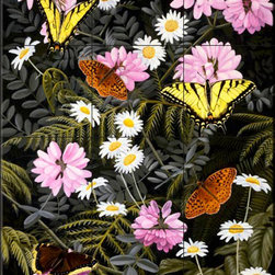The Tile Mural Store (USA) - Tile Mural - Tapestry - Fs - Kitchen Backsplash Ideas - This beautiful artwork by Fred Szatkowski has been digitally reproduced for tiles and depicts several butterflies with wildflowers.  Butterfly images on tiles are wonderful to add to your kitchen backsplash wall tile project. Bright and beautiful decorative tiles with pictures of butterflies make a great addition to your kitchen backsplash wall tile project. Bring the outdoors in with a butterfly tile mural. You can use a tile mural of butterflies in the bathroom too for your shower tile project. Consider a butterfly tile mural for any wall tile project.