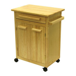 Winsome Wood - Wood Kitchen Cart Cabinet w One Drawer - * Beech finish. Beechwood. Assembly required. 26.9 in. L x 18.2 in. W x 34.3 in. H. 63 lbs