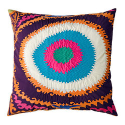 "Totem Pillow, Mauve/Blue/Pink, 20"" x 20"""