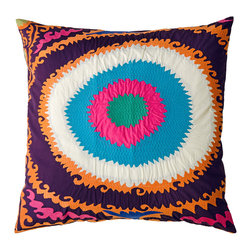 KOKO - Totem Pillow, Mauve/Blue/Pink - Round out your living room with a bright idea. This dynamic design gets its textural oomph from appliqué and embroidery, and is guaranteed to excite your sofa.