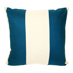 Acapillow - Pieced Stripe Pillow - Crisp and clean in blue and cream, this lovely pillow adds sophistication (and stunning stripes) to your space. Filled with down and backed with hemp, it's as soft as it is stylish.
