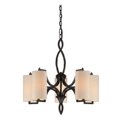 Savoy House Lighting - Savoy House Lighting 1-1750-5-59 Lincoln 5 Light Chandeliers in Distress Bronze - Raymond Waites presents the Lincoln collection, an inspired design that adds contemporay flair to twisted iron . This transitional group has oversized cream fabric shades and a warm Distressed Bronze finish.