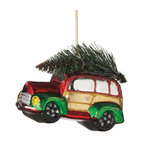 Midwest CBK - Car with Christmas Tree Glitter Ornament - Vintage Glass Holiday Gift Decoration - Vintage Glitter Car Christmas Tree Ornament