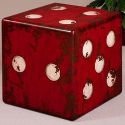 Uttermost - Matthew Williams Dice Accent Table - Designer: Matthew Williams. Made of Mdf. 19 in. W x 19 in. D x 19 in. HBurnt red with antiqued ivory accents and walnut wood undertones.