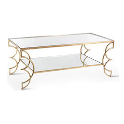 Kathy Kuo Home - Ofelia Contemporary Antique Gold Leaf Boutique Coffee Table - A wonderful silhouette, the glamorous Ofelia coffee table is hand finished in antique gold leaf.  On both the stretcher and the table surface is antique mirror.