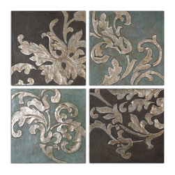 Uttermost - Damask Relief Blocks Wall Art Set of 4 - A love of nature is embedded in our consciousness, and a wall patterned with bas-relief leaves and vines reminds you that nature is never far away.