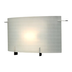 Design Classics Lighting - Single-Light Frosted Sconce - 1772-1 - This unique single-light sconce has a frosted glass diffuser with a subtle etched-square pattern. The curved glass is held in place by four unobtrusive polished-chrome retaining hooks. This stylish piece is perfect for lighting a bathroom vanity area. Pair it with a second sconce to flank the mirror. It measures 14 inches in length. Takes (1) 100-watt halogen T3 bulb(s). Bulb(s) included. UL listed. Dry location rated.